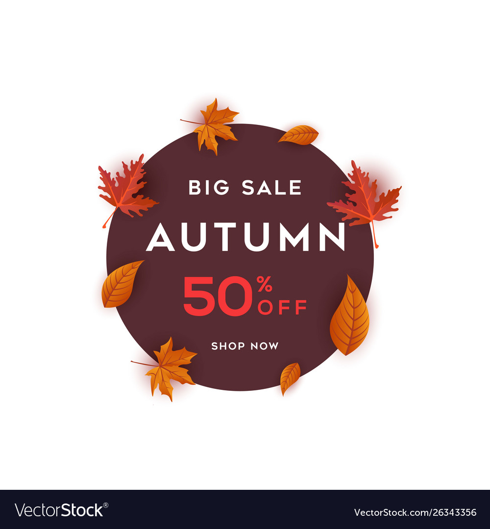 Big sale autumn benner with leaf background