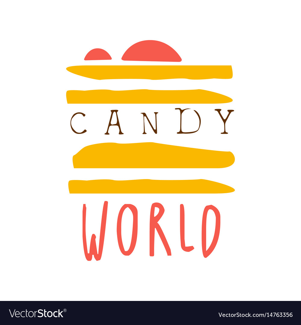 Candy world logo colorful hand drawn label vector image