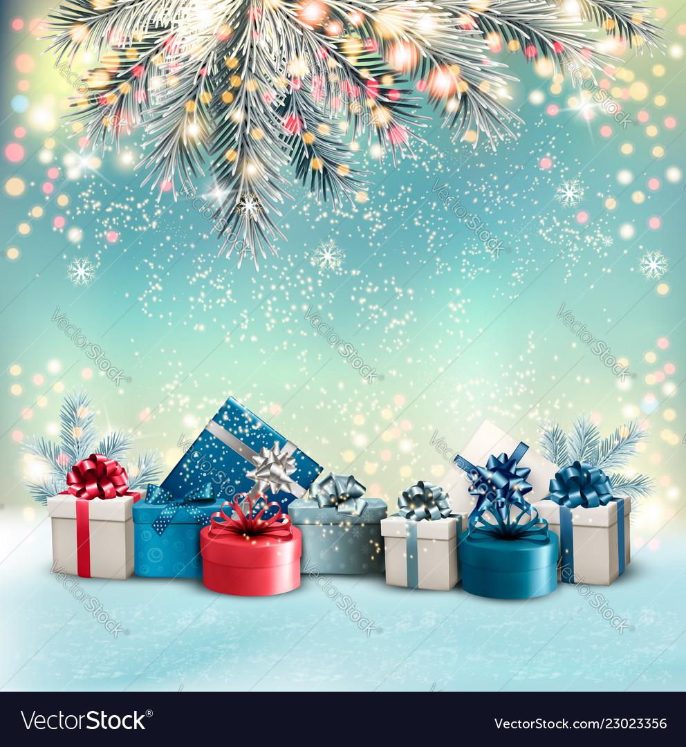 Christmas Holiday Background.Christmas Holiday Background With Colorful Gift