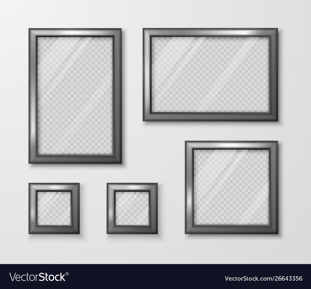Collection photo frames on gray wall