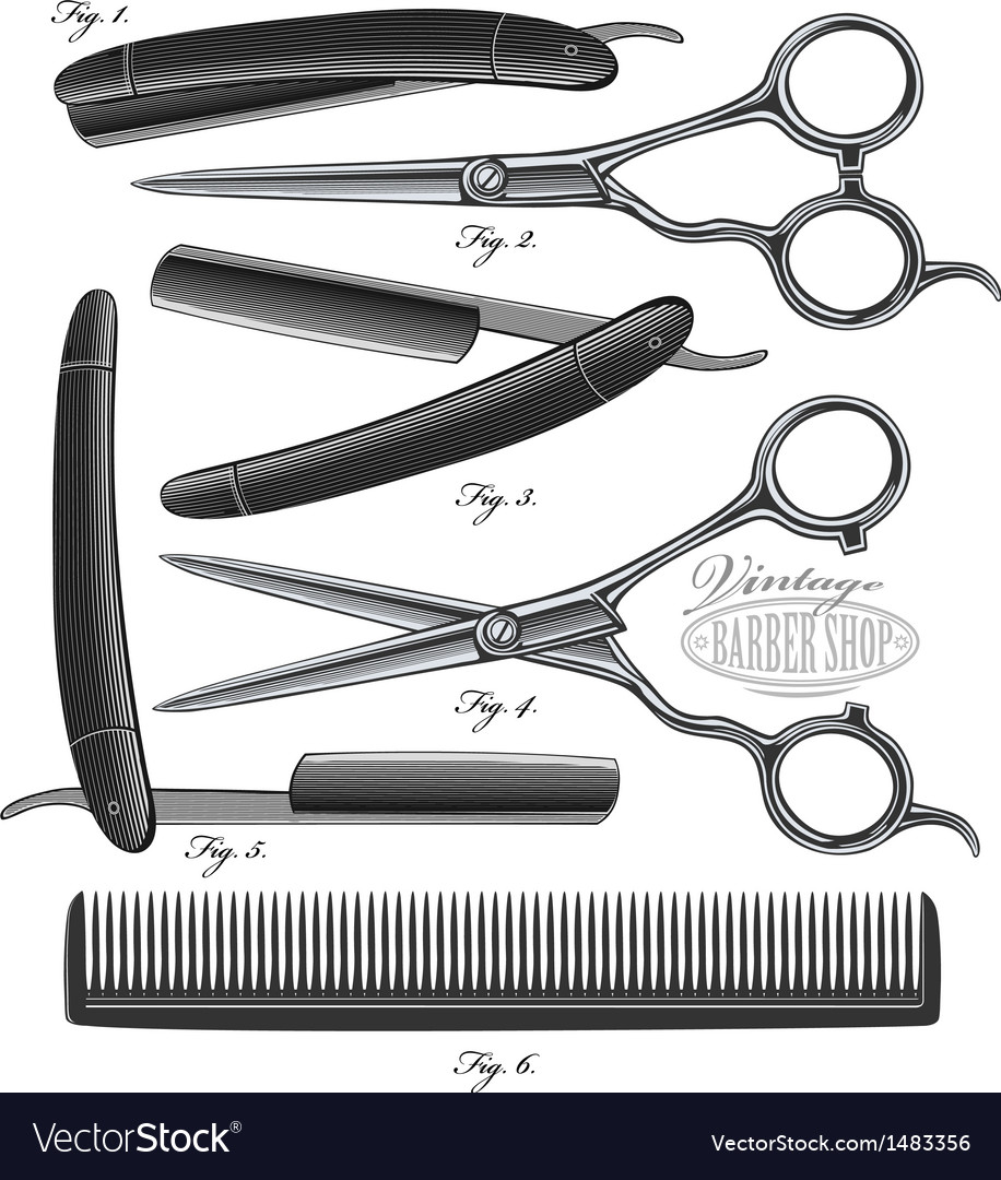 Comb Scissors and Razor in vintage engraved style