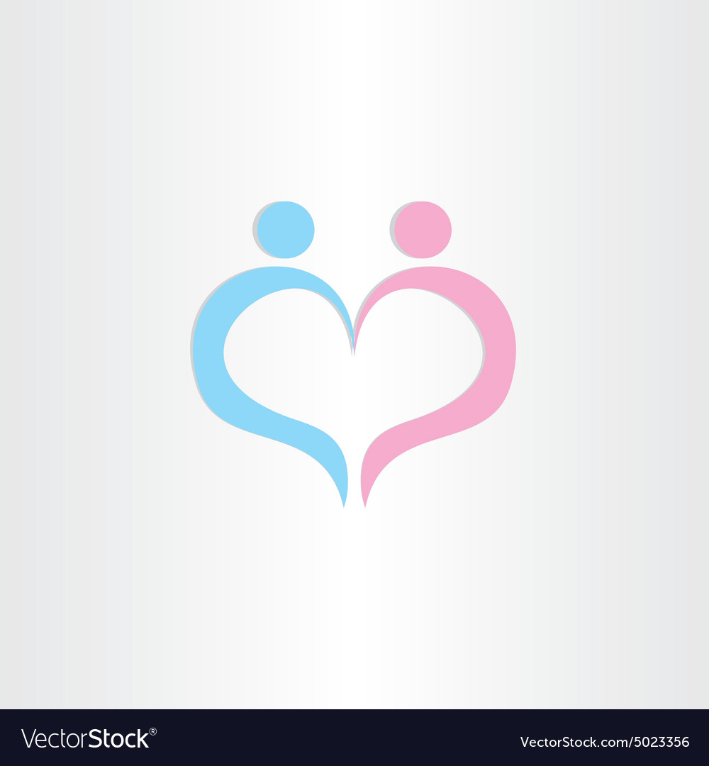 Couple Boy And Girl Heart Love Symbol Royalty Free Vector