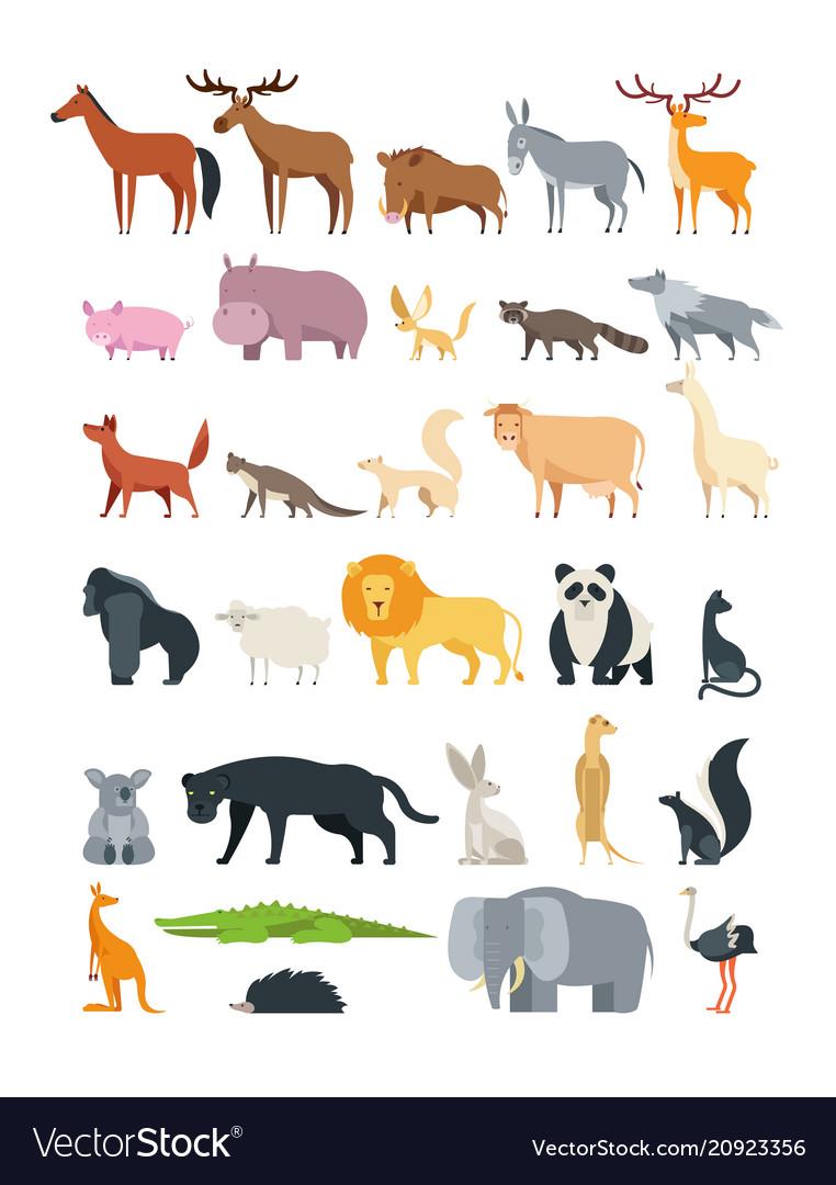 Cute cartoon animals forest savannah and farm