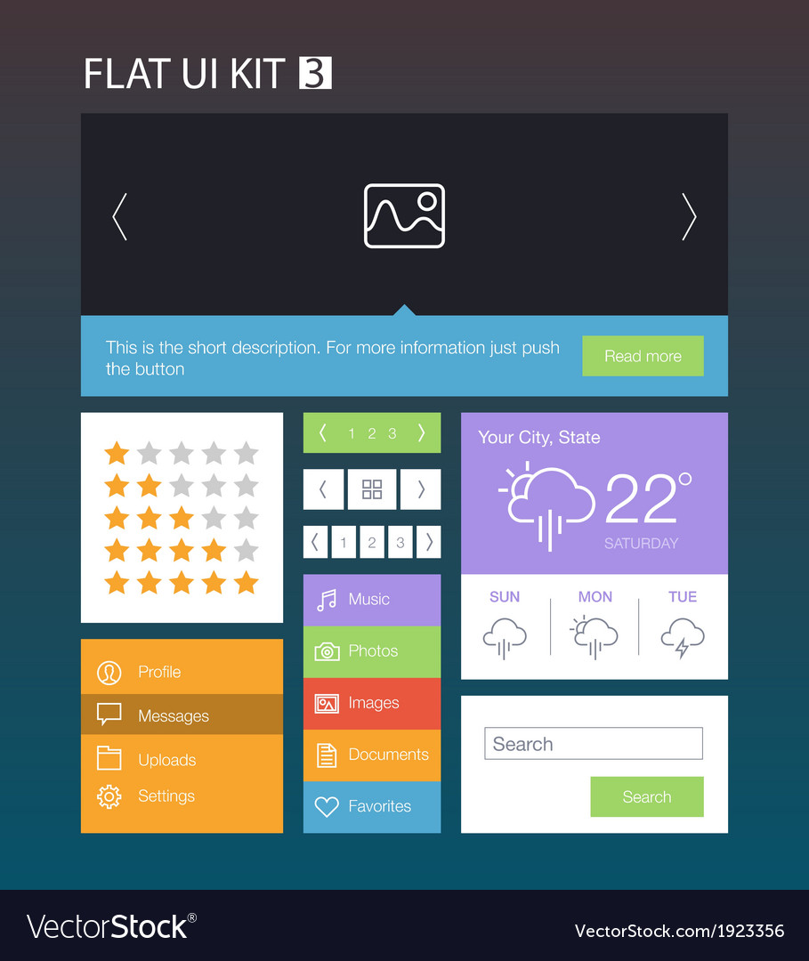 Flat User Interface Kit for web and mobile 3