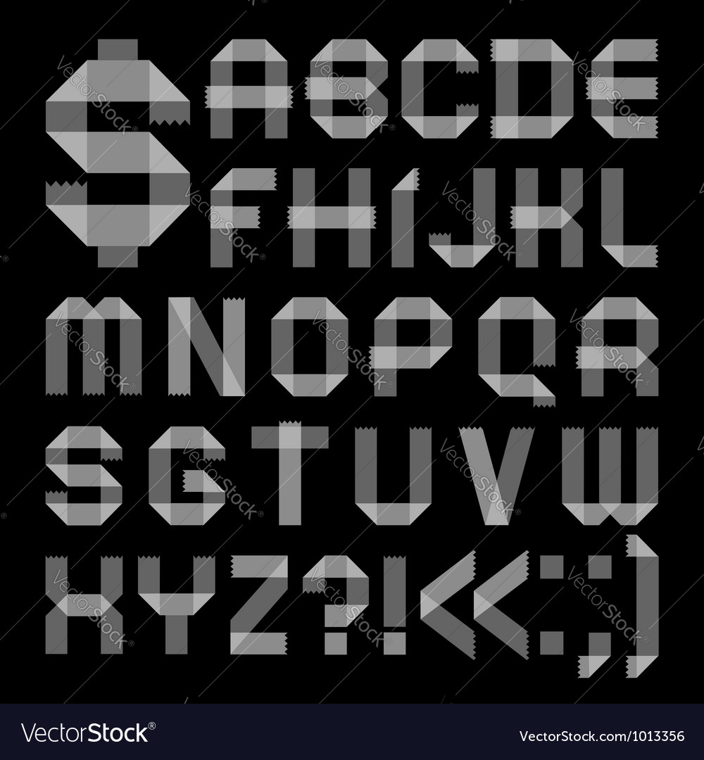 Font from scotch tape - Roman alphabet