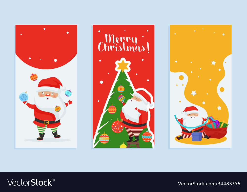 Merry christmas greeting card set with cartoon