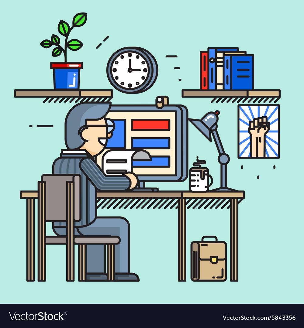 Modern creative office desk worker in line flat