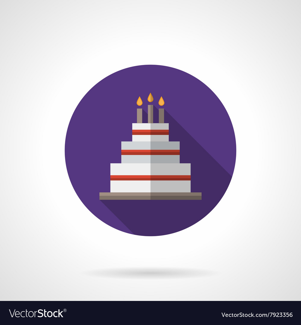 Party cake purple round flat icon