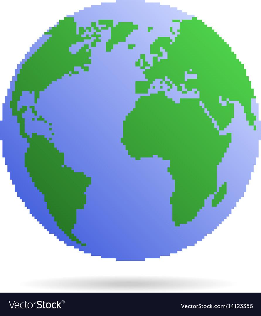 Pixel Earth Globe Royalty Free Vector Image Vectorstock