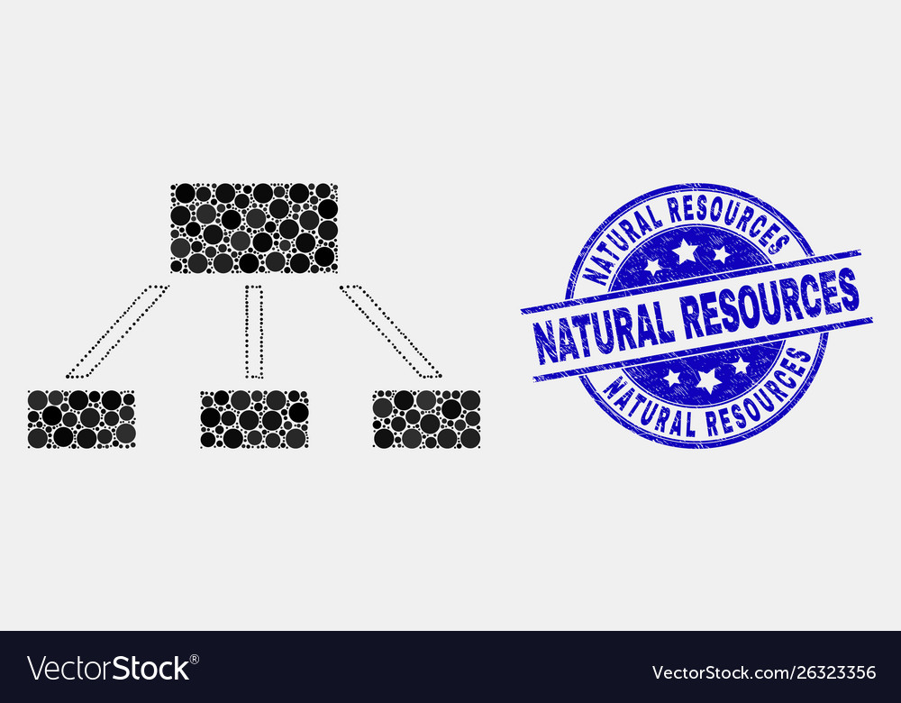 Pixelated hierarchy icon and grunge natural