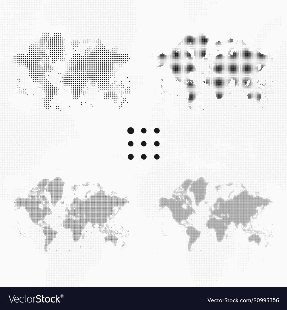 Set of dotted world maps in different resolution vector image