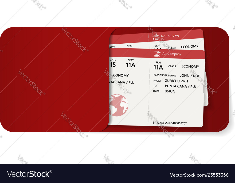 Two Boarding Pass Inside Of Red Envelope Vector Image