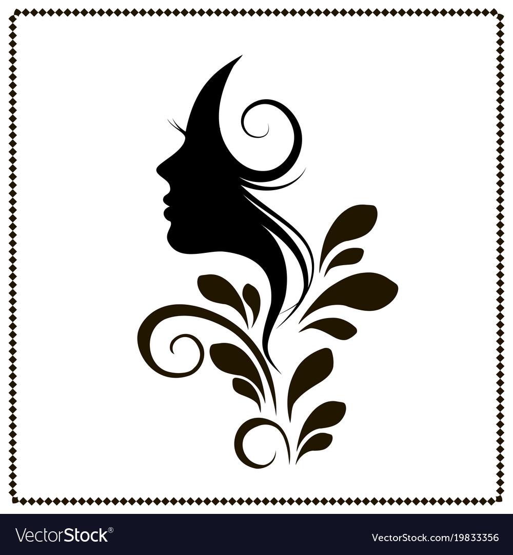 Woman profile style salon silhouette