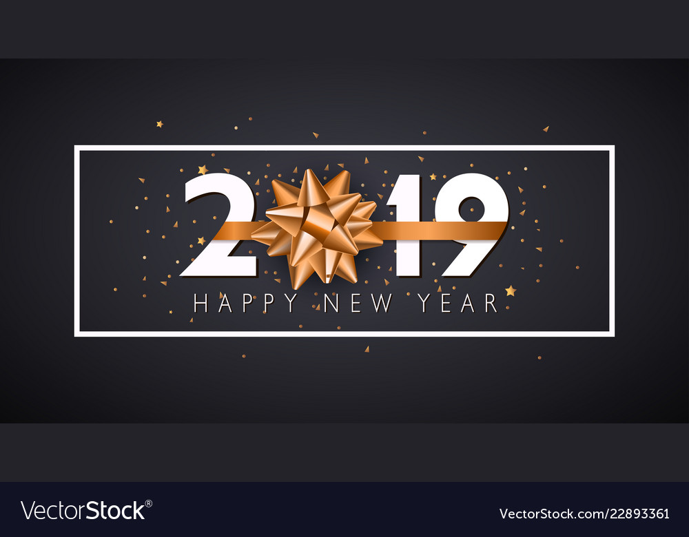 2019 happy new year background with golden