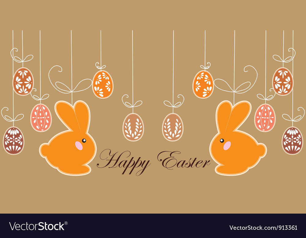 Antique postcard with Easter rabbits vector image