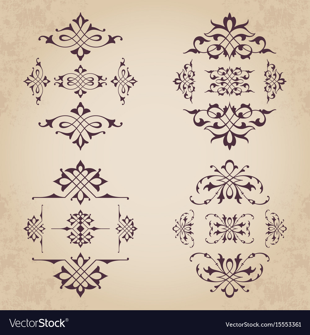 Calligraphic design elements in vintage style vector image