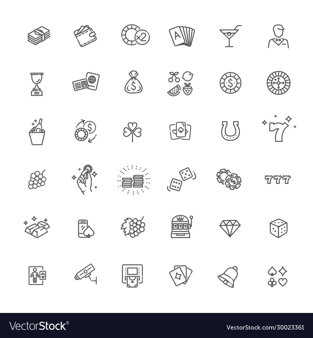 Casino related icon set vector