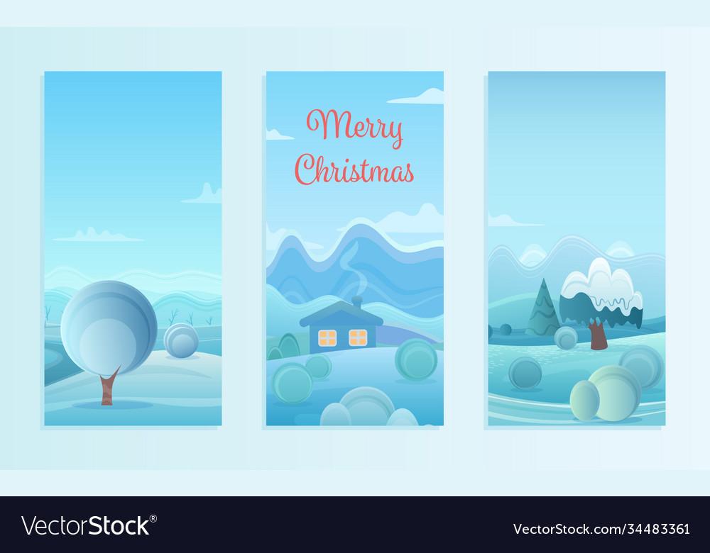 Christmas nature winter landscape set with village