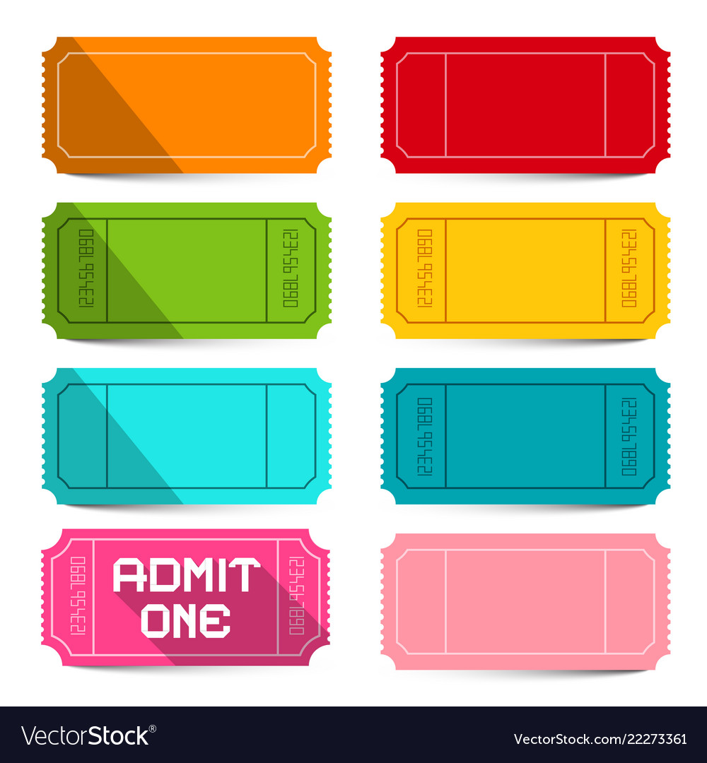 Colorful empty tickets set isolated on white