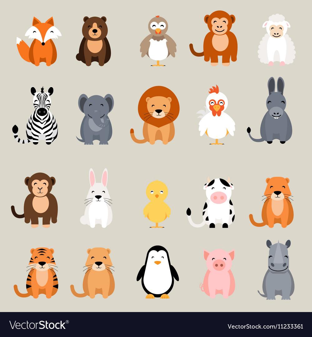 Cute animal set Fox bear elephant bear vector image