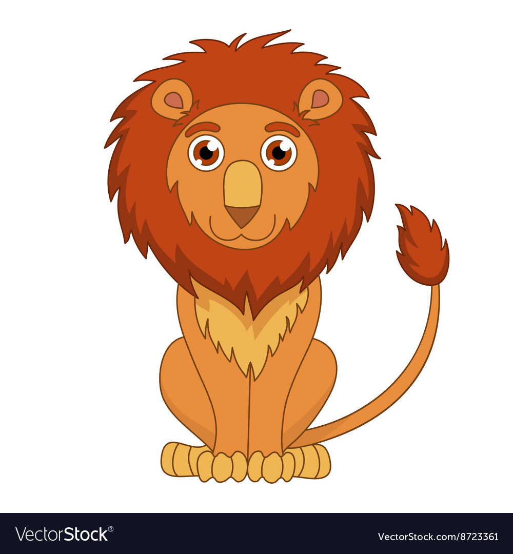 Cute cartoon lion with fluffy mane and kind muzzle