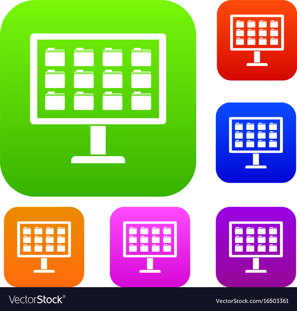 Desktop of computer with folders set collection