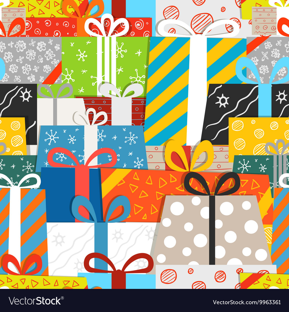 Different gift boxes seamless pattern