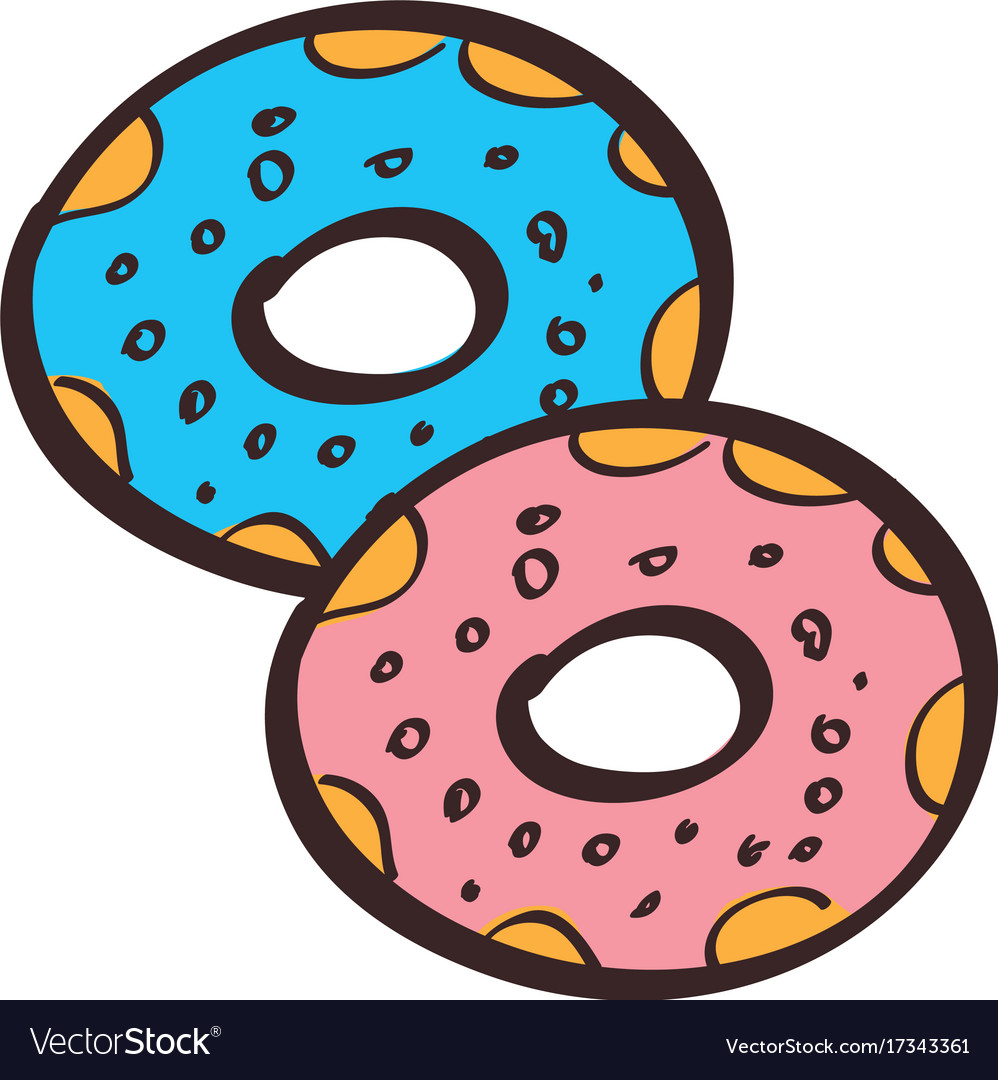 Donuts colored in hand drawing style