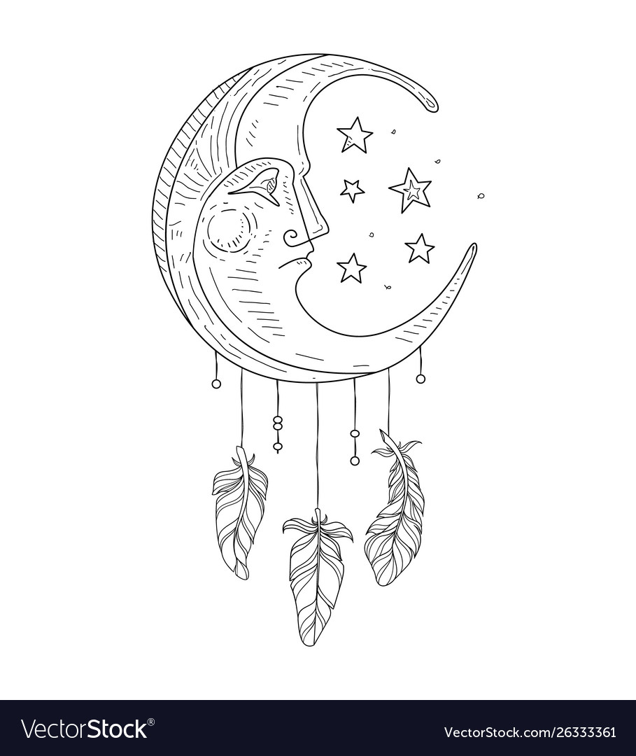 Dream catcher with moon face ethnic indian symbol
