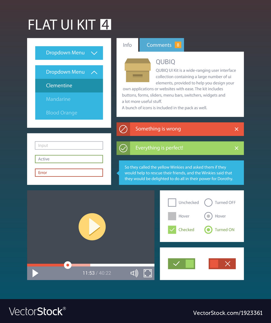 Flat User Interface Kit for web and mobile 4 vector image