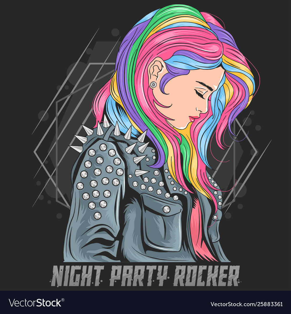 Girl unicorn full colour hair with rocker jacket p