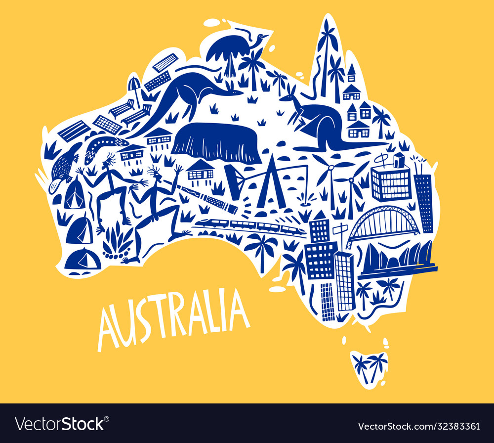 Hand drawn stylized map australia travel of