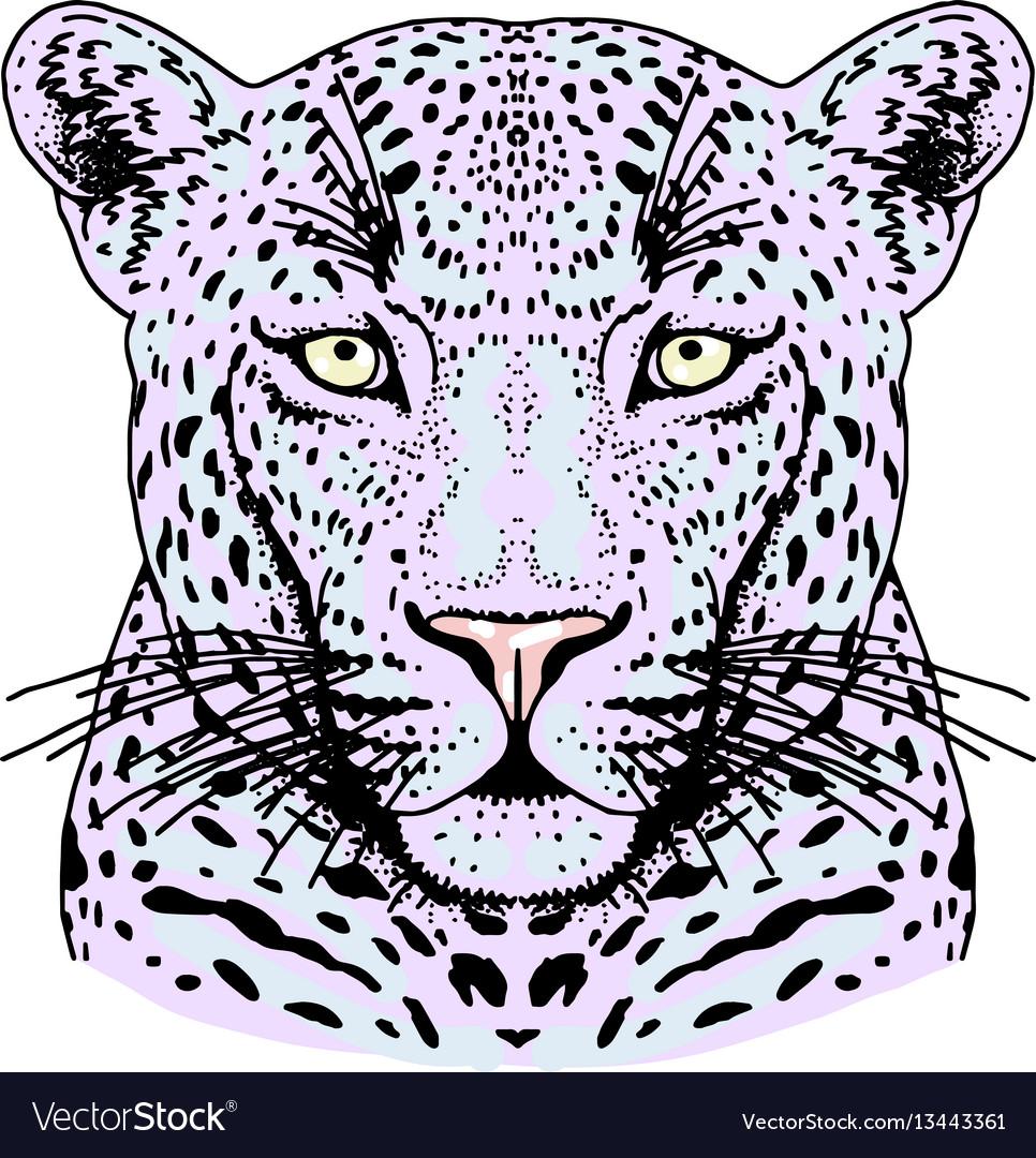 Leopard face tattoo print