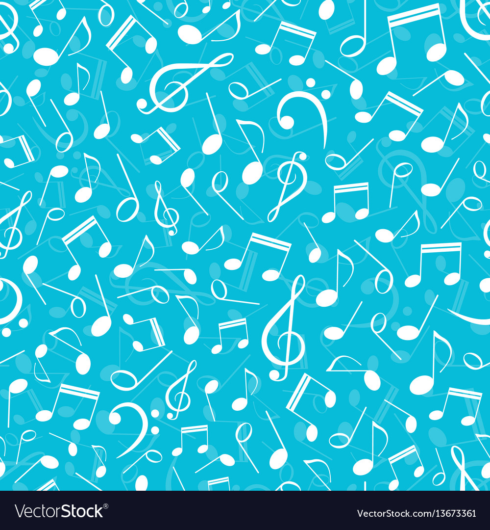 Musical seamless pattern with notes
