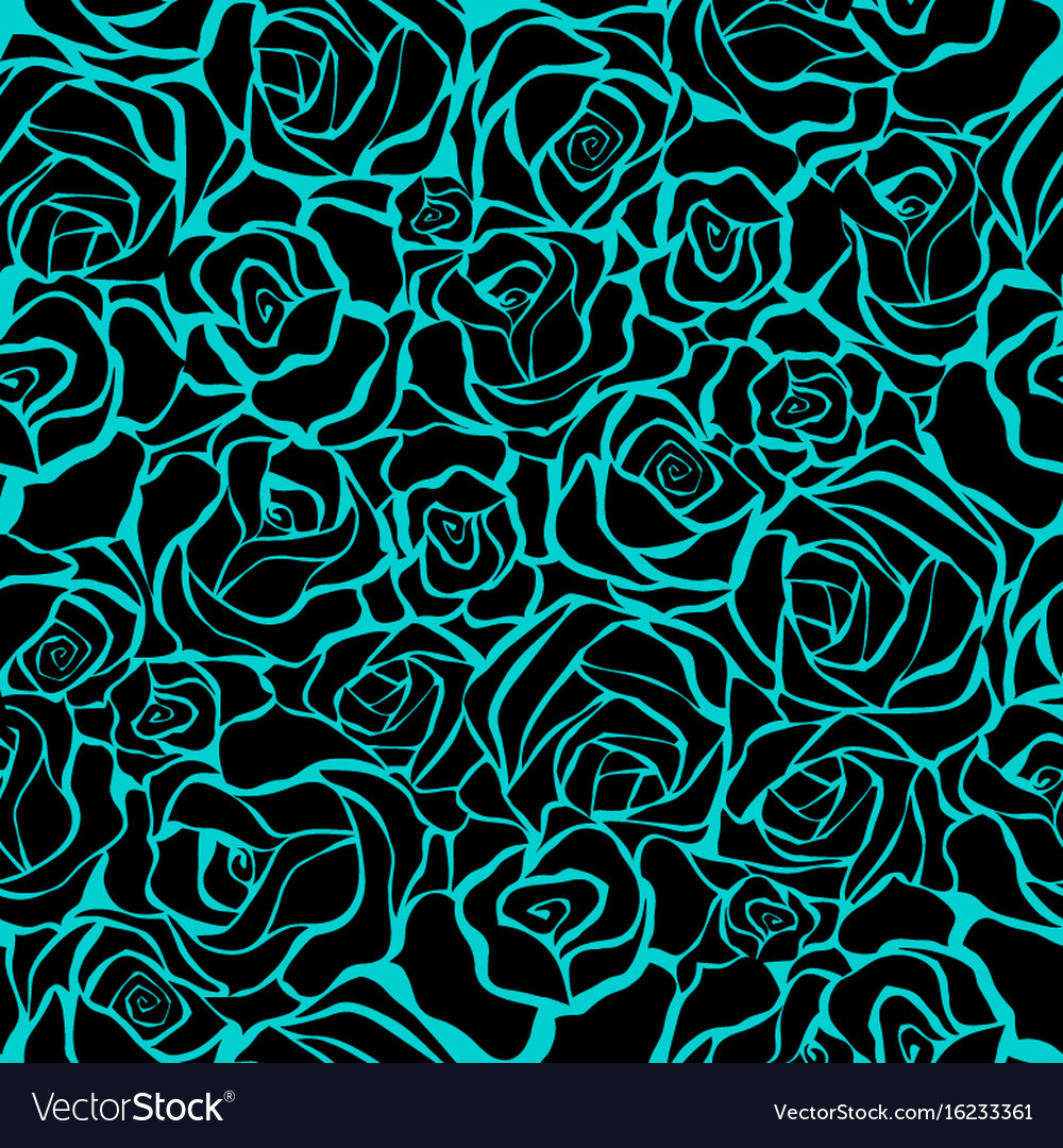 Seamless retro background with black roses