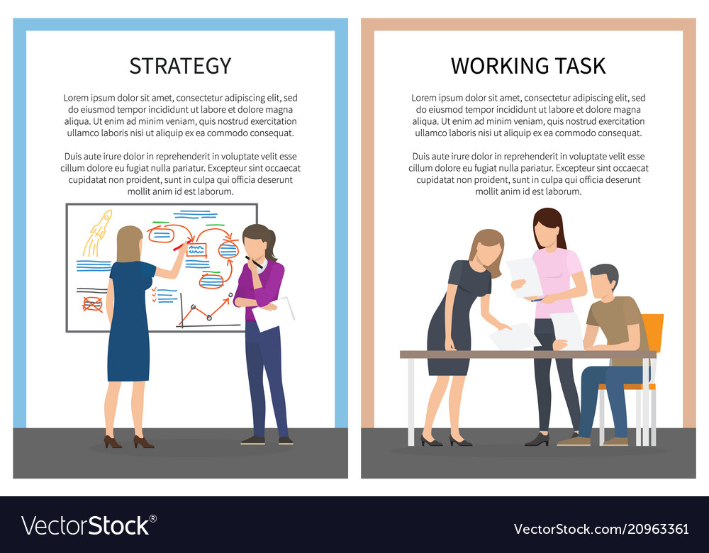 Strategy office work set of posters with workers