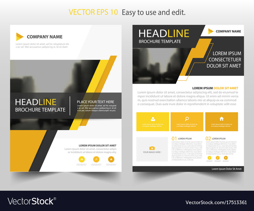 Yellow Black Abstract Brochure Annual Report Vector Image