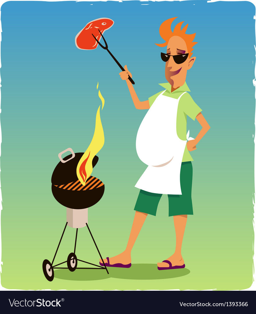 Barbecuing guy vector image
