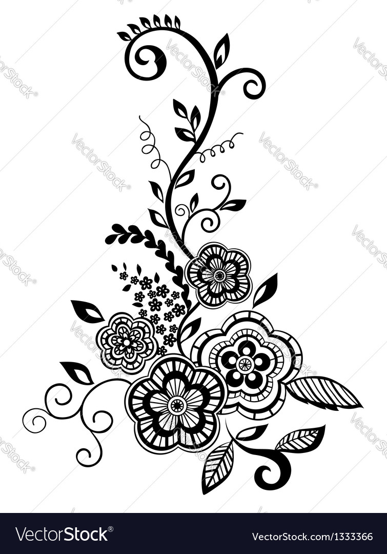 Black and white flowers and leaves design element vector image mightylinksfo