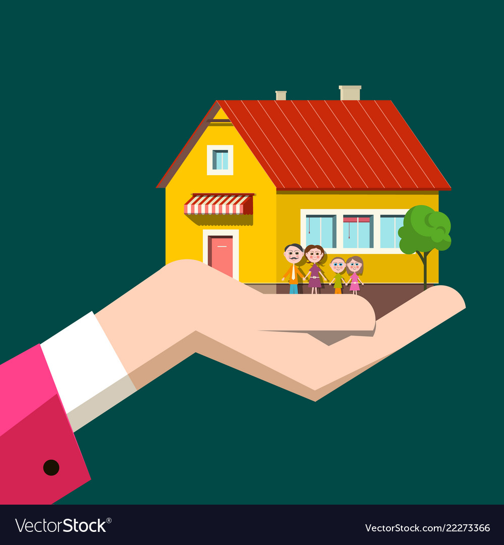 Family house in human hand flat design icon