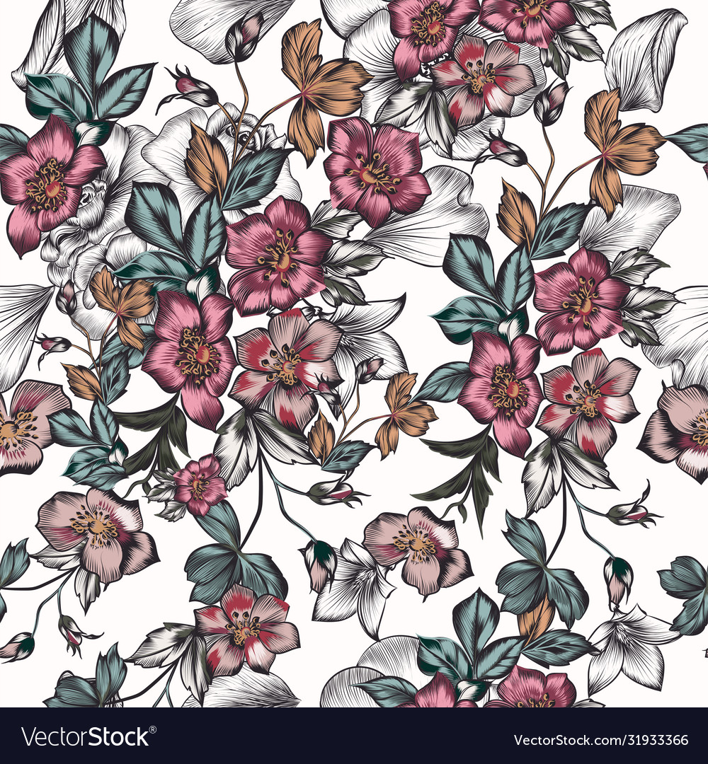 Floral seamless pattern with flowers vintage style