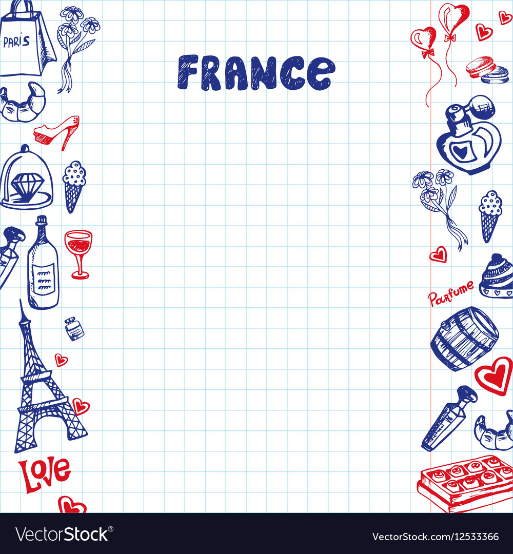 France Symbols Pen Drawn Doodles Collection