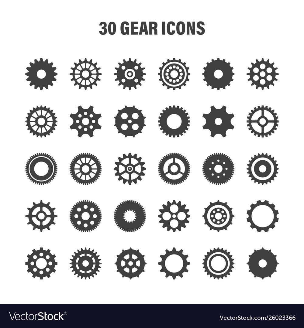Gear wheels set retro vintage cogwheels