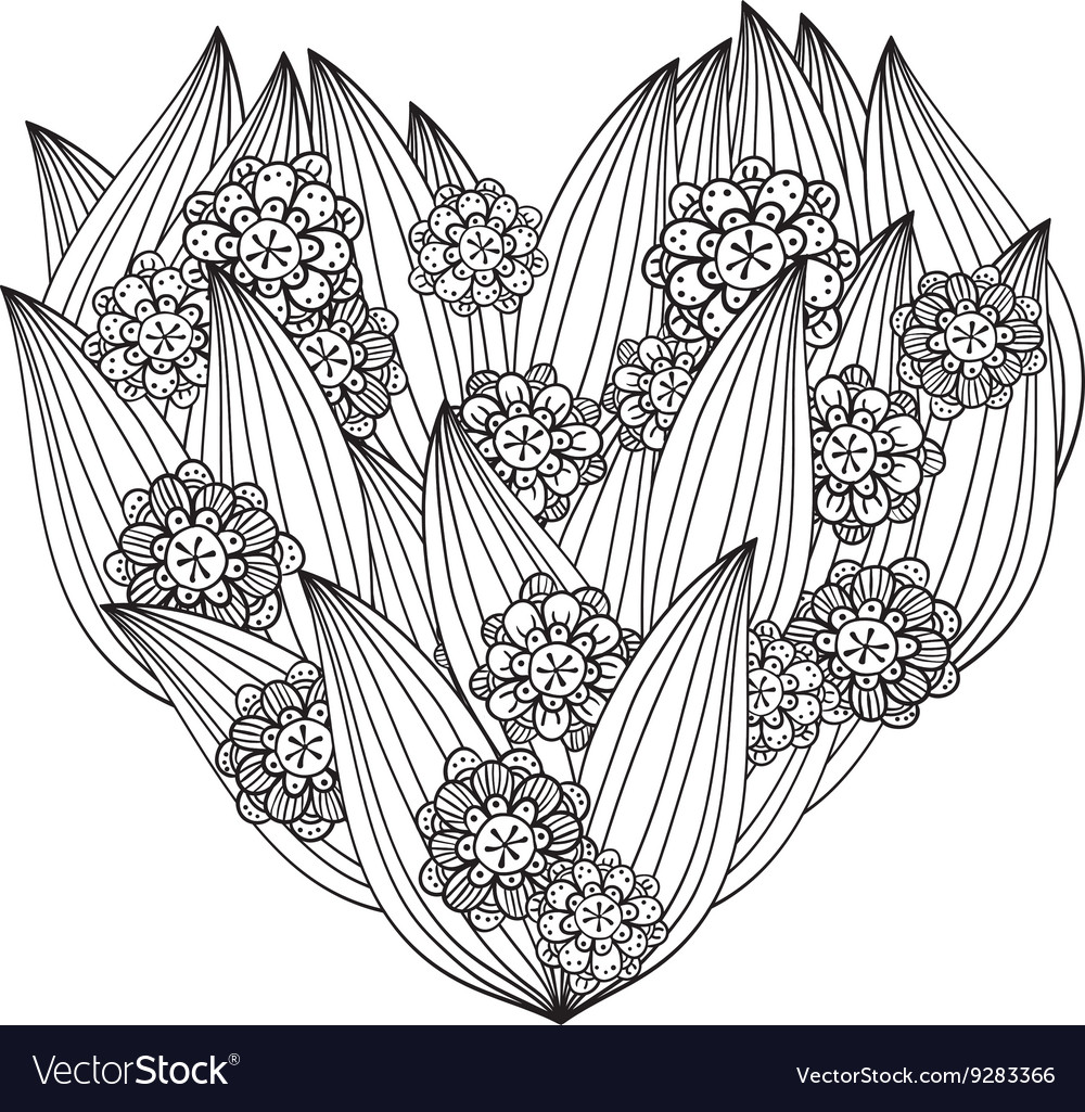 Zentangle Floral Patterned Heart Stock Vector - Illustration of ... | 1025x1000