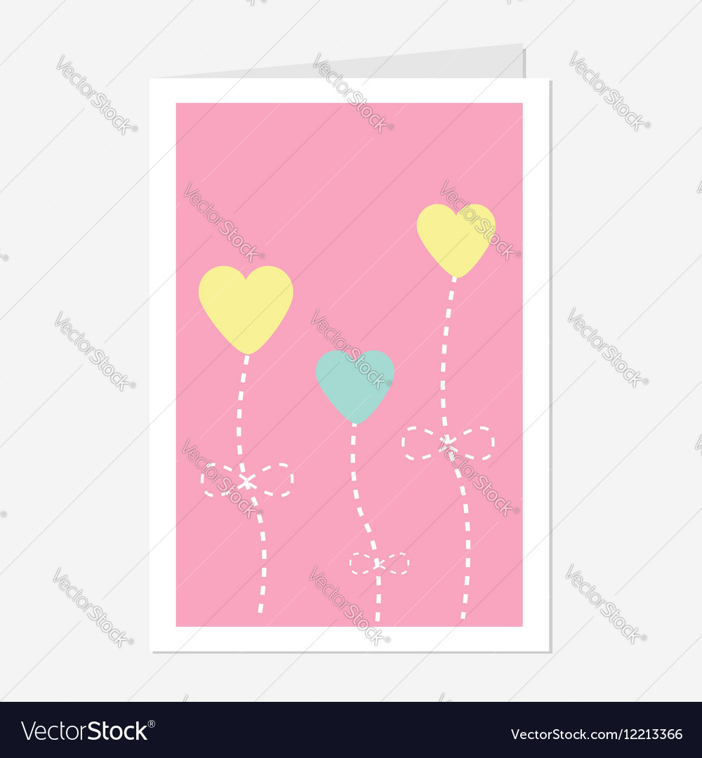 Heart flowers dash line Love greeting card Flat