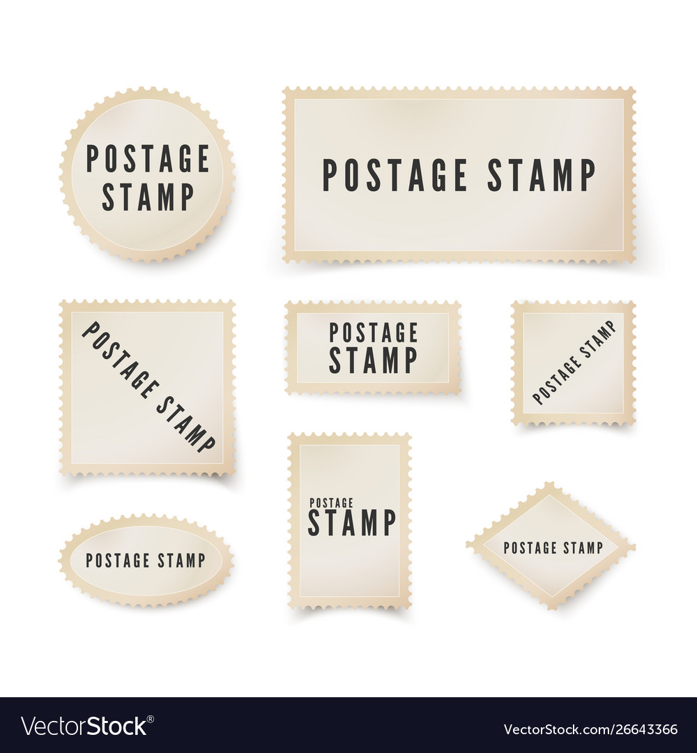 Postal stamp template with shadow retro blank
