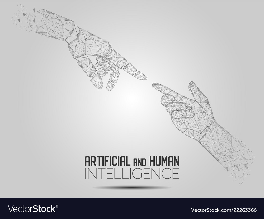 Robot and human touching hands polygonal