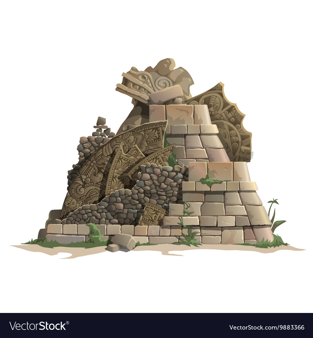 Ruins of antique Mayan pyramid cartoon style