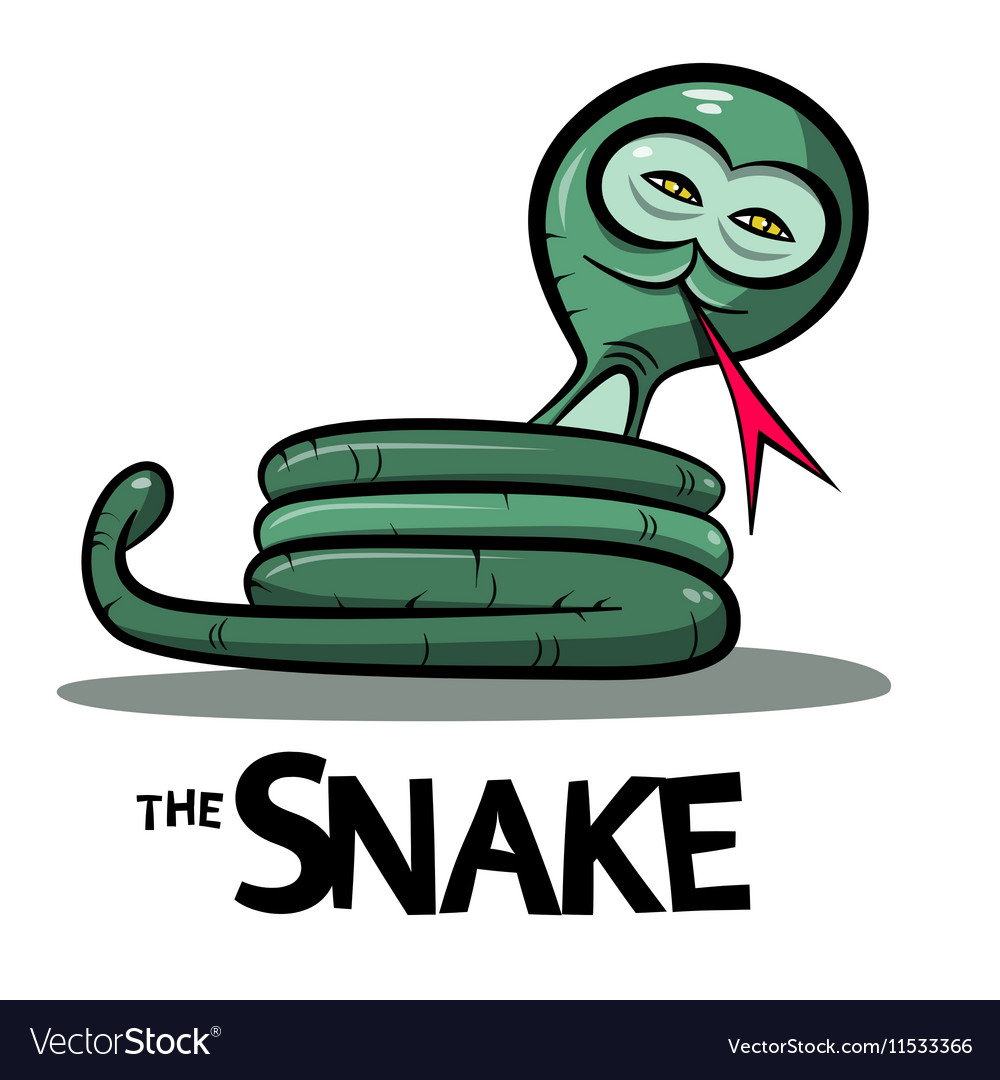 Snake Cartoon - Green Boa or Anaconda Snake with