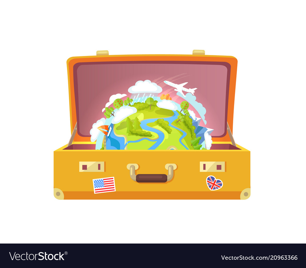 Suitcase with stickers globe